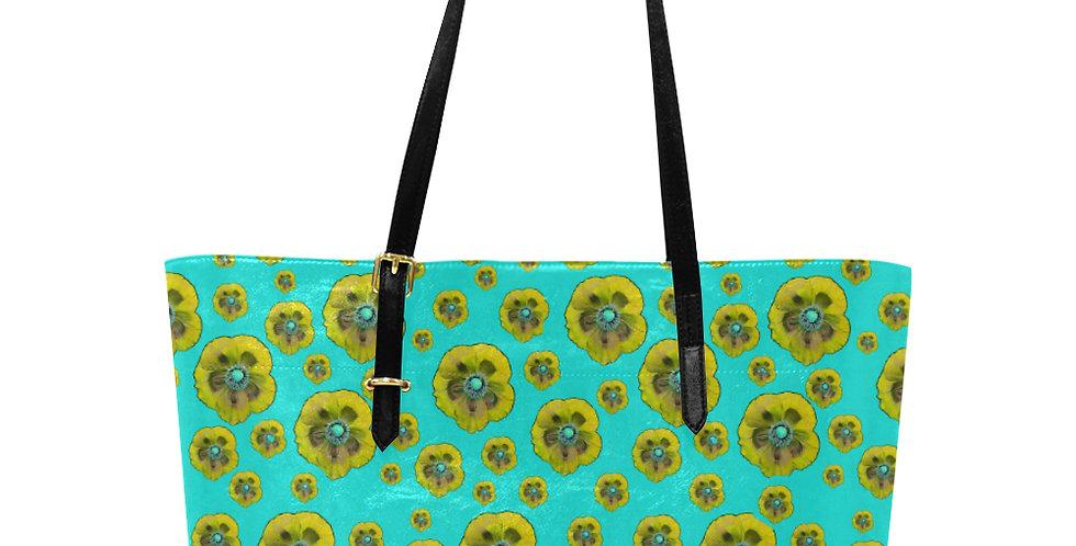 Flower Power Aqua & Yellow - Large Tote Bag