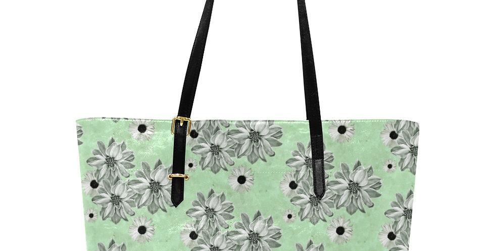Floral Mint Green - Large Tote Bag