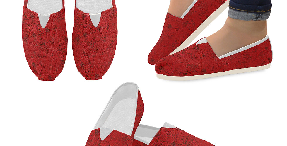 Embossed Floral Red - Slip On Canvas Shoes