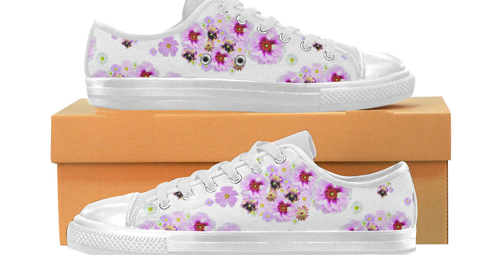 Cotton Candy Floral - Women's Canvas Sneakers