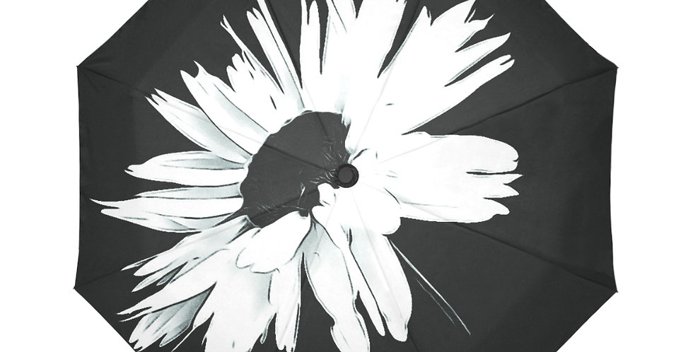 Daisy Love Black and White - Botanical Umbrella