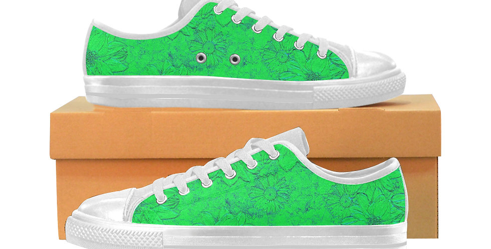 Embossed Floral Green - Women's Canvas Sneakers