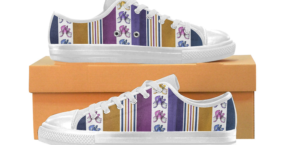 Rainbow Iris Stripes - Women's Canvas Sneakers