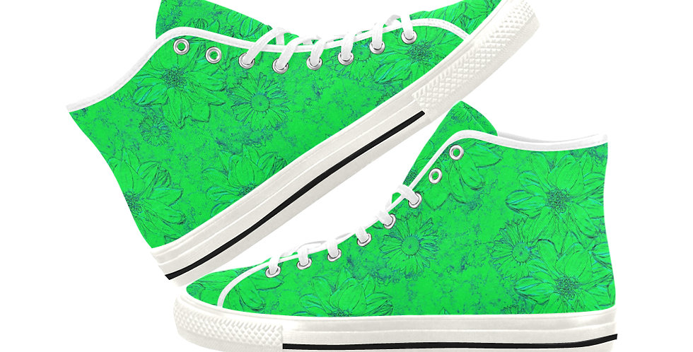 Embossed Floral Green - Women's High Top Canvas Sneakers