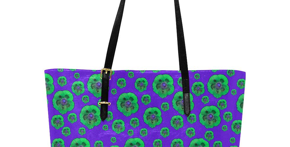 Flower Power Purple & Green - Large Tote Bag