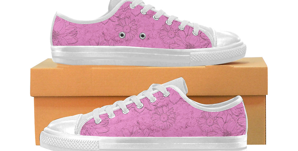 Embossed Floral Soft Pink - Women's Canvas Sneakers