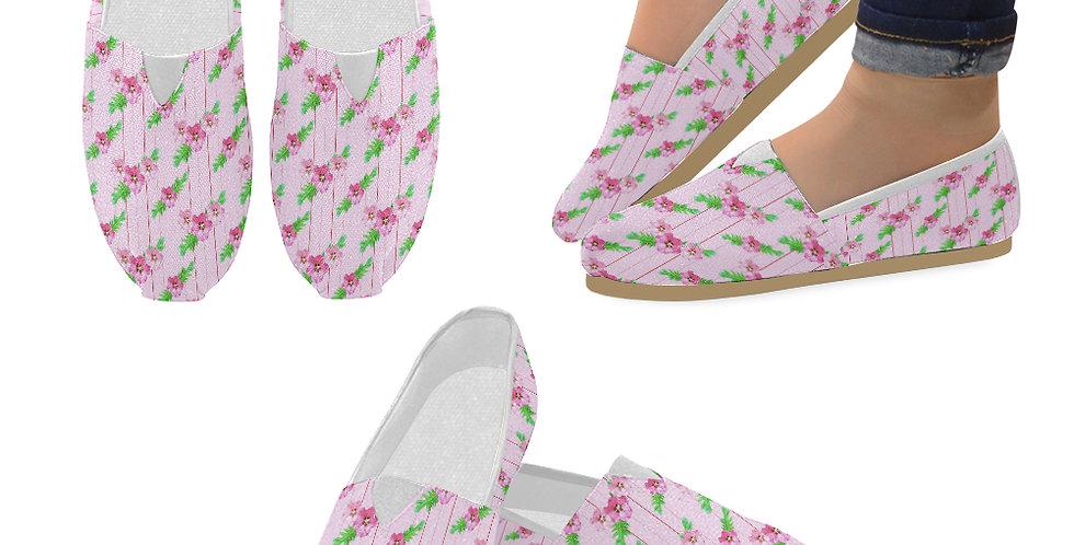 Xanadu Pink (small print) - Slip On Canvas Shoes