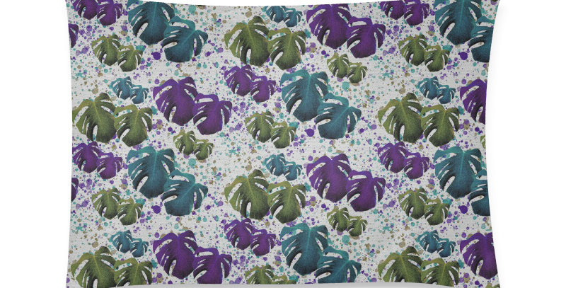 Monstera Leaves - Purple & Teal  - Cushion Cover