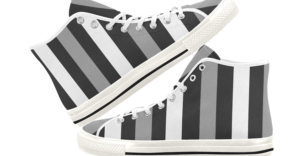 Moody Stripes -  Women's High Top Canvas Sneakers