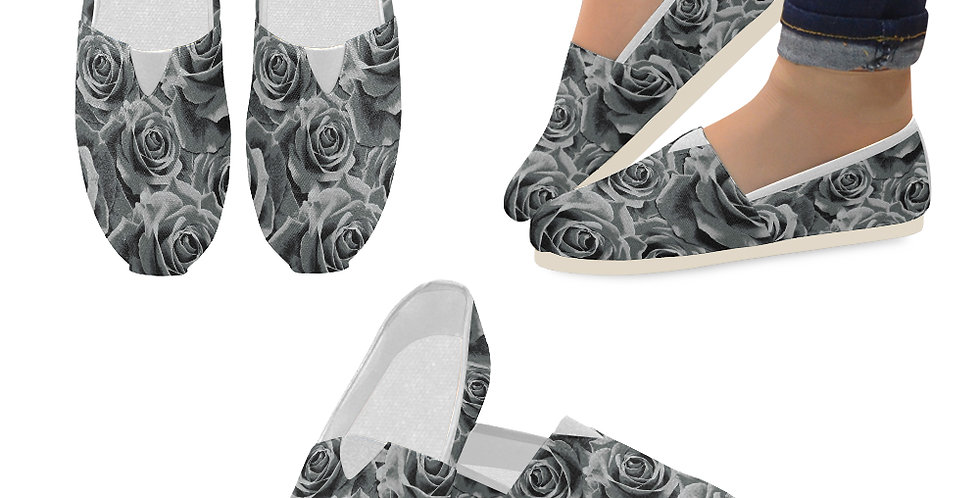 Gypsy Rose Silver Mist - Slip On Canvas Shoes