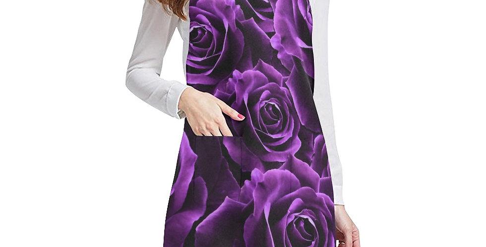 Velvet Roses Purple Apron - Adjustable