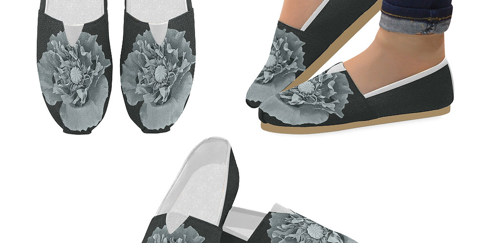 Botanical Poppy - Slip On Canvas Shoes