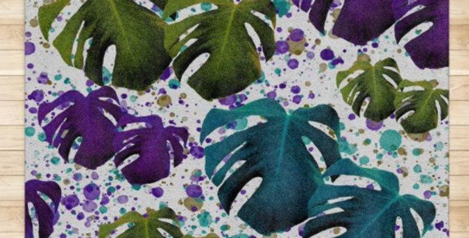 Monstera Leaves Purple/Teal - Rug & Runner