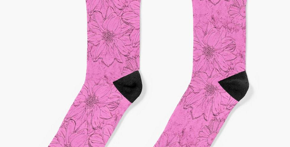 Embossed Floral Pink - Socks