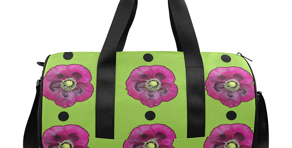 Purple Poppies & Dots - Gym / Workout / Camping / Travel Duffel Bag