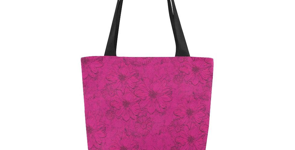 Embossed Floral Deep Pink - Tote Bag