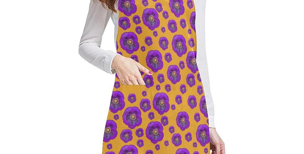 Flower Power Orange/Purple Apron - Adjustable
