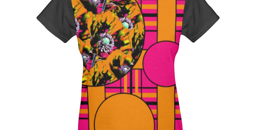 Tartan & Poppies - Orange & Pink - Large Print - T-shirt