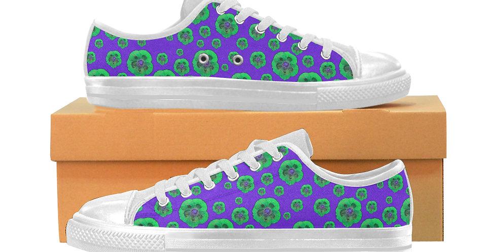 Poppies Purple/Green - Women's Canvas Sneakers