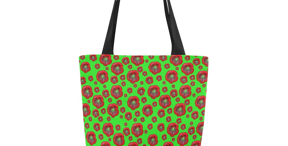 Poppies Red/Green - Tote Bag