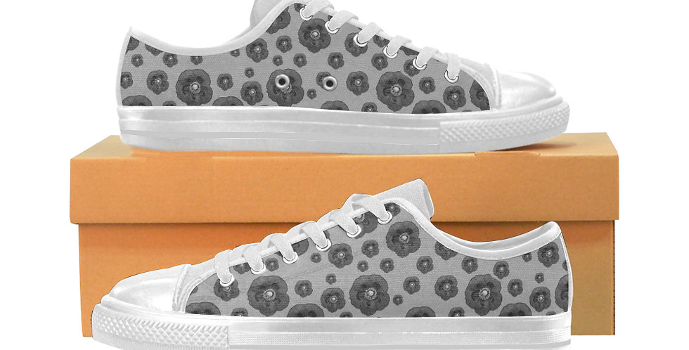 Poppies Grey - Women's Canvas Sneakers