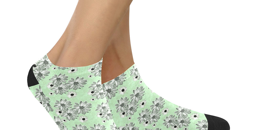 Floral Mint Green - Ankle Socks