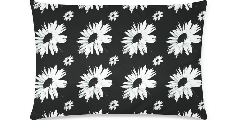Bunch of Daisies Black (small print) - Cushion Cover