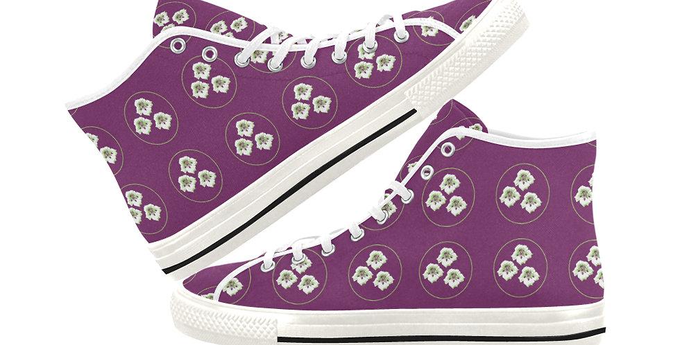 Purple Nasturtium - Women's High Top Canvas Sneakers