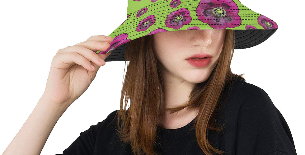 Poppies Green and Purple - Bucket Hat