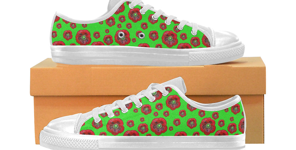 Poppies Green/Red - Women's Canvas Sneakers