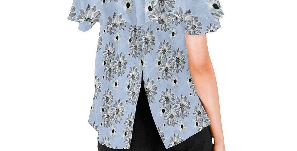Floral Blue - Women's Chiffon Blouse