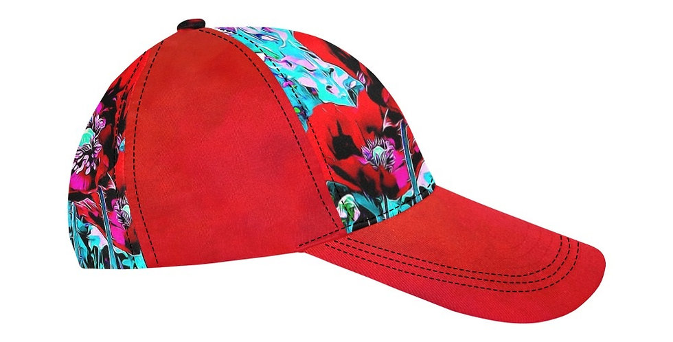 Red Poppies (red sides) - Baseball Cap