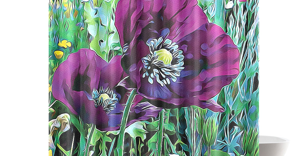 Meadow Poppies Spring - Shower Curtain
