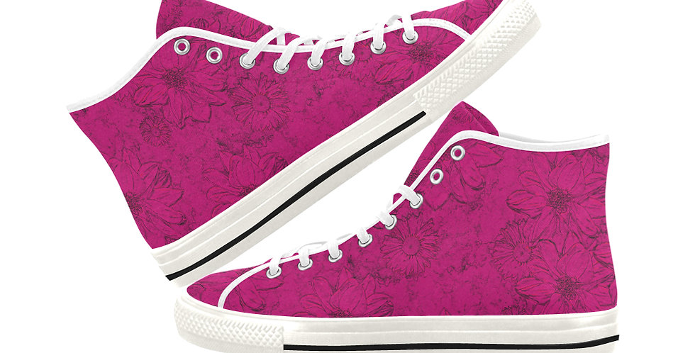 Embossed Floral Pink - Women's High Top Canvas Sneakers