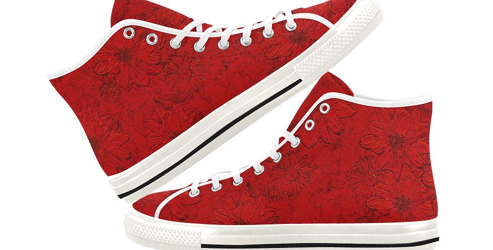 Embossed Floral Red - Women's High Top Canvas Sneakers