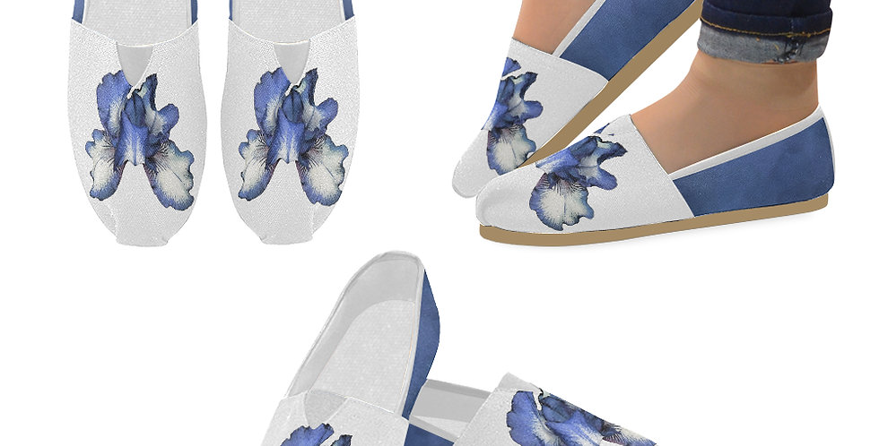 Bearded Iris Blue - Slip On Canvas Shoes