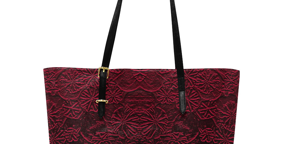Embossed Poppies Ruby Red - Large Tote Bag