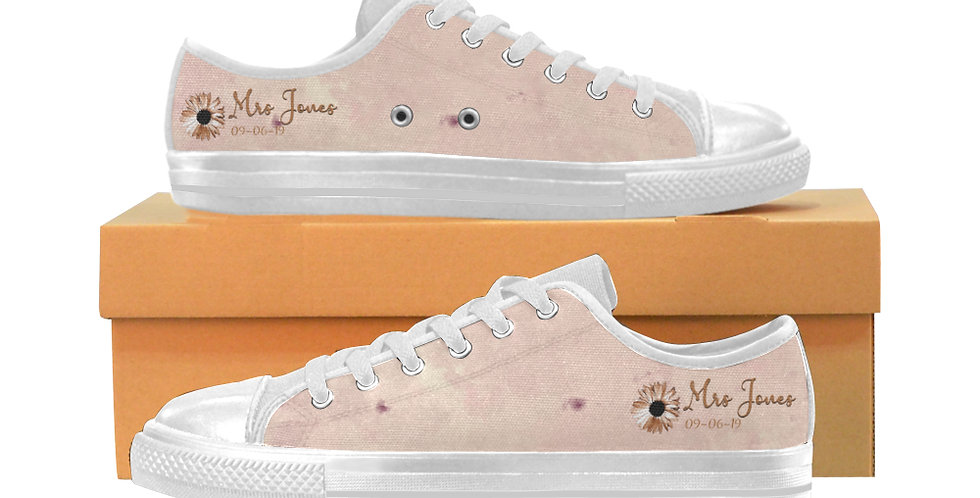 Blush & Rose Gold - Women's Canvas Sneakers