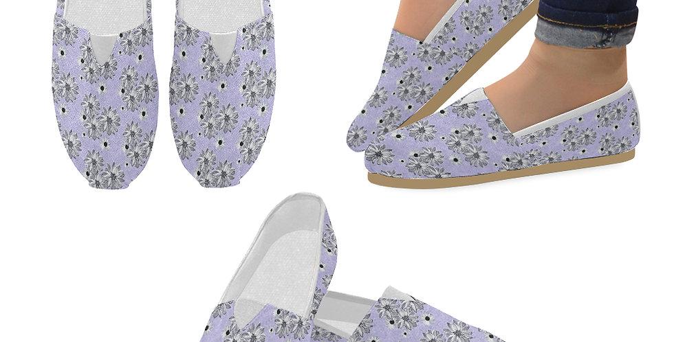Floral Mauve - Slip On Canvas Shoes