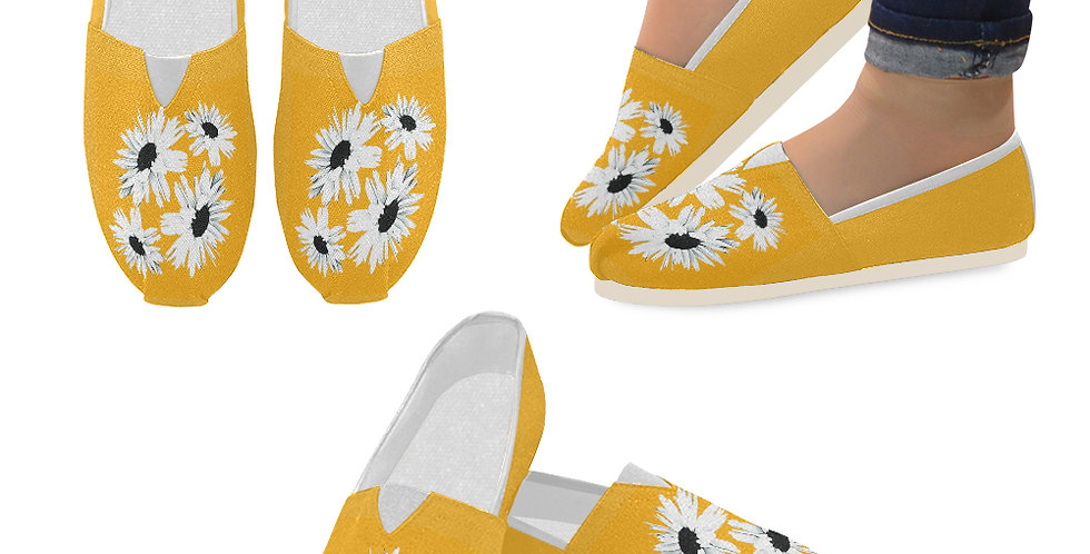 Bunch of Daisies Orange - Slip On Canvas Shoes