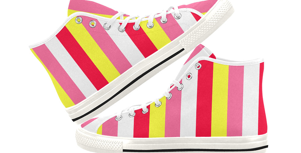 Summer Stripes -  Women's High Top Canvas Sneakers