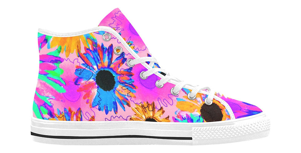 Wildflower Floral - Bright Pink - Women's High Top Canvas Sneakers