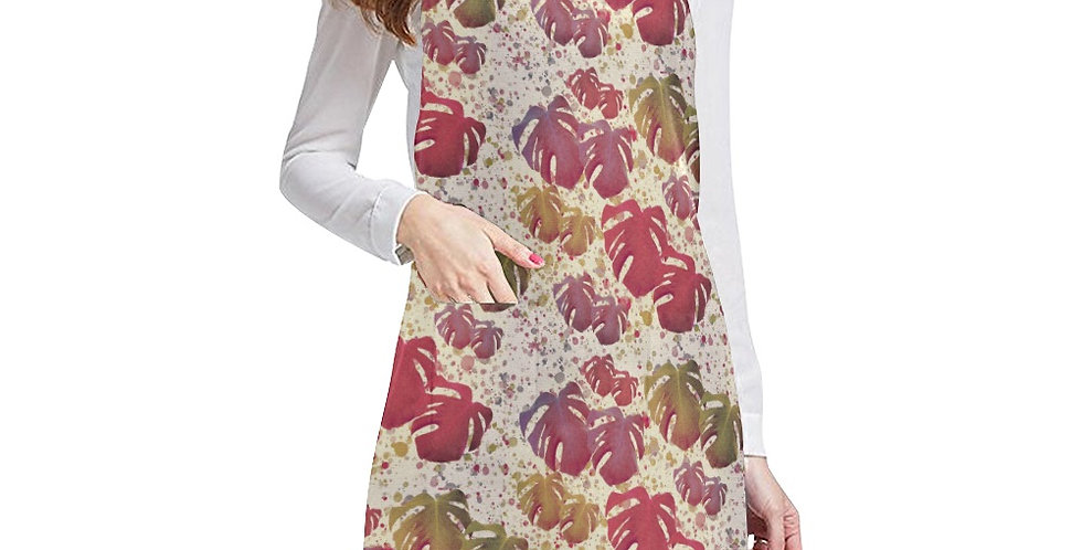 Monstera Leaves Vintage Apron - Adjustable
