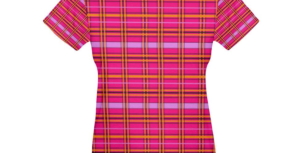 Tartan & Poppies - Orange & Pink - Tartan - T-shirt