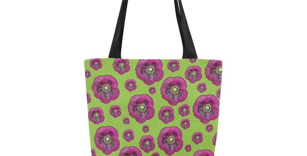 Poppies Purple/Green - Tote Bag