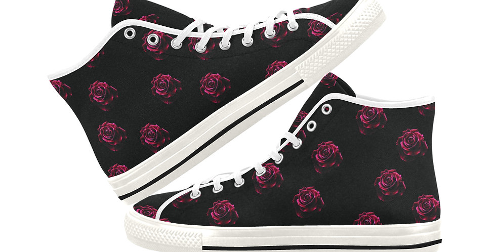 Red Red Roses (small print) - Women's High Top Canvas Sneakers