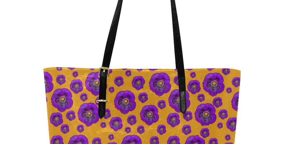 Flower Power Orange & Purple - Large Tote Bag