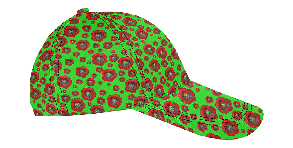 Flower Power Green/Red - Baseball Cap