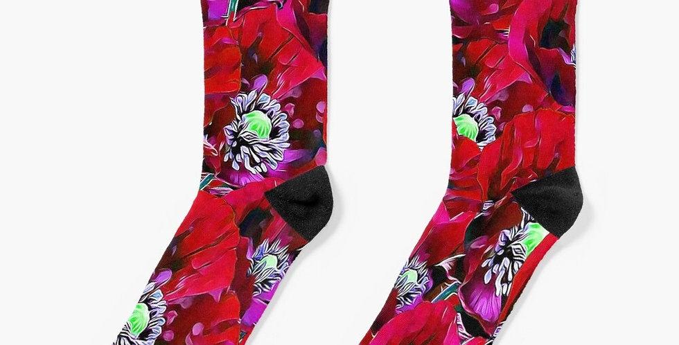Poppies Red - Socks