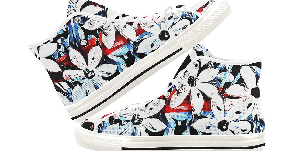 Patriotic Lily - Women's High Top Canvas Sneakers